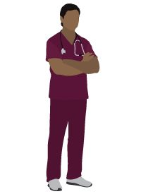 icon of doctor in scrubs