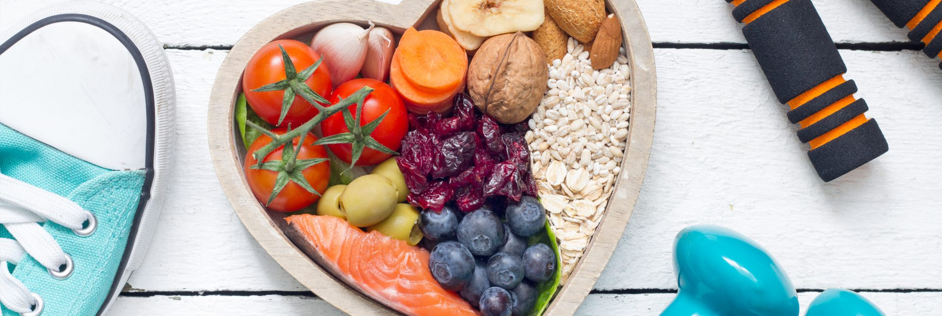 Healthy foods in a heart-shaped bowl