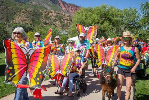 Rally the Valley walkers with butterfly signs